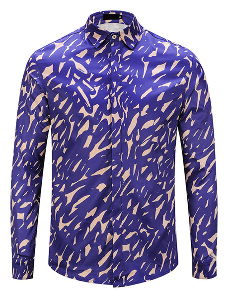 Pizoff Mens Long Sleeve Luxury Print Dress Shirt Y1792-B1