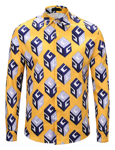 Pizoff Mens Long Sleeve Luxury Design Print Dress Shirt  Y1792-C1