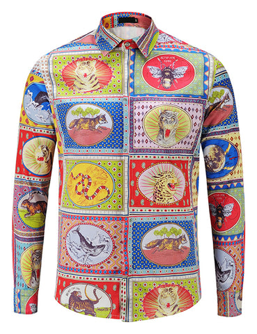 Pizoff Mens Long Sleeve Luxury Design Print Dress Shirt  Y1792-C2