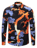 Pizoff Mens Long Sleeve Luxury Design Print Dress Shirt  Y1792-C3