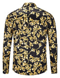 Pizoff Mens Long Sleeve Luxury Design Print Dress Shirt  Y1792-D1