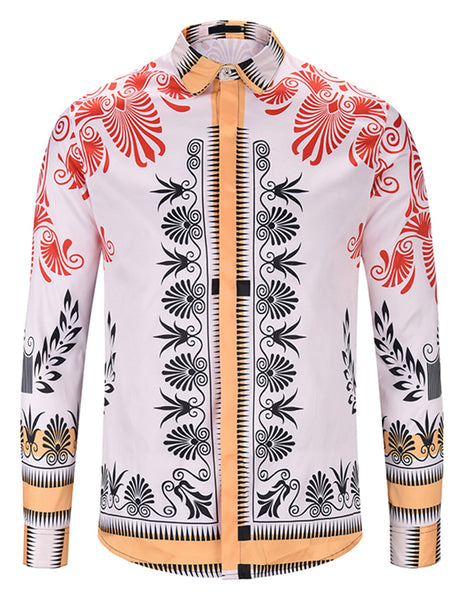 Pizoff Mens Long Sleeve Luxury Design Print Dress Shirt  Y1792-D5