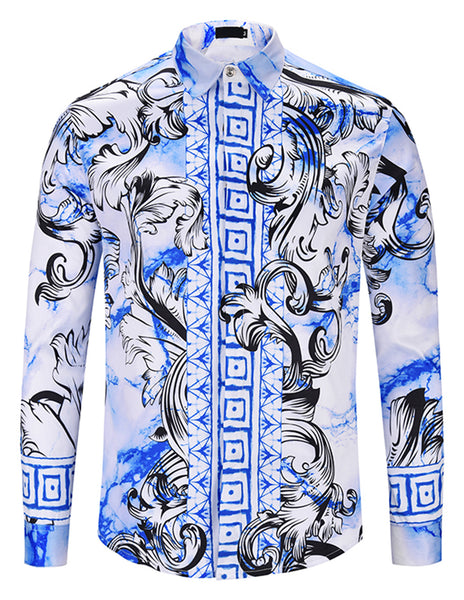 Pizoff Mens Long Sleeve Luxury Design Print Dress Shirt  Y1792-D8