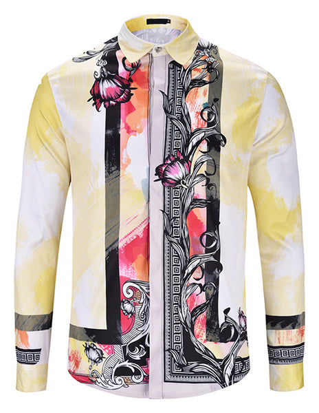 Pizoff Mens Long Sleeve Luxury Design Print Dress Shirt  Y1792-D9