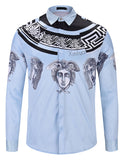 Pizoff Mens Long Sleeve Luxury Design Print Dress Shirt  Y1792-F2
