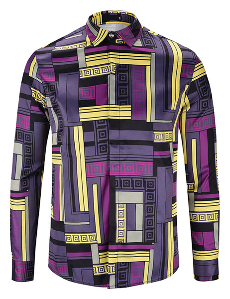 Pizoff Mens Long Sleeve Luxury Design Print Dress Shirt  Y1792-F3