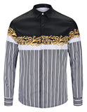 Pizoff Mens Long Sleeve Luxury Design Print Dress Shirt  Y1792-F4