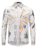 Pizoff Mens Long Sleeve Luxury Design Print Dress Shirt  Y1792-F6
