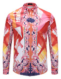 Pizoff Mens Long Sleeve Luxury Design Print Dress Shirt  Y1792-F8