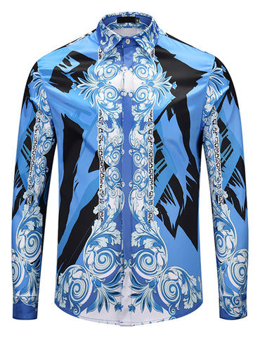 Pizoff Mens Long Sleeve Luxury Design Print Dress Shirt  Y1792-F9