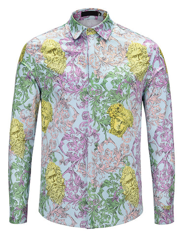 Pizoff Mens Long Sleeve Luxury Design Print Dress Shirt  Y1792-G1