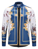 Pizoff Mens Long Sleeve Luxury Design Print Dress Shirt  Y1792-G2