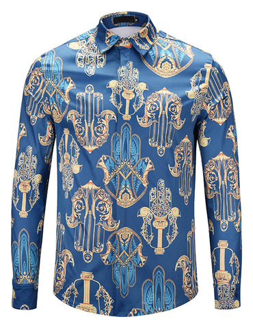 Pizoff Mens Long Sleeve Luxury Design Print Dress Shirt  Y1792-G4