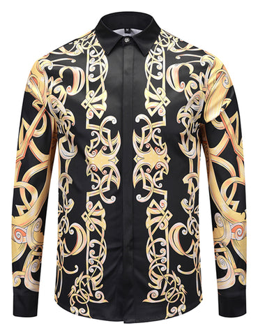 Pizoff Mens Long Sleeve Luxury Design Print Dress Shirt  Y1792-G6