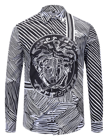 Pizoff Mens Long Sleeve Luxury Design Print Dress Shirt  Y1792-G7