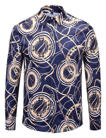 Pizoff Mens Long Sleeve Luxury Design Print Dress Shirt  Y1792-H2