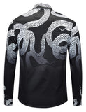 Pizoff Mens Long Sleeve Luxury Design Print Dress Shirt  Y1792-H3
