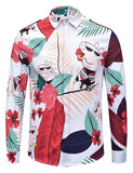 Pizoff Mens Long Sleeve Luxury Design Print Dress Shirt  Y1792-H4