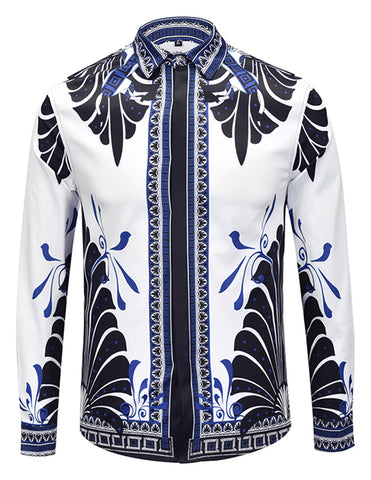 Pizoff Mens Long Sleeve Luxury Design Print Dress Shirt  Y1792-H6