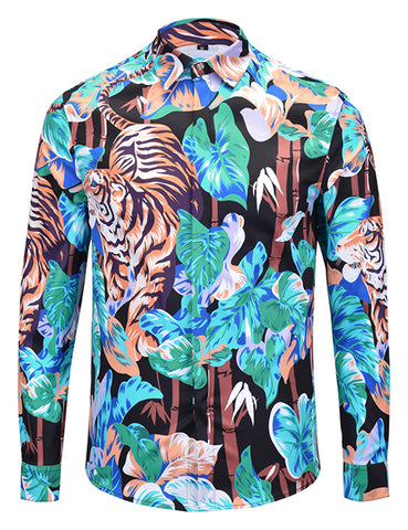 Pizoff Mens Long Sleeve Luxury Design Print Dress Shirt  Y1792-H8