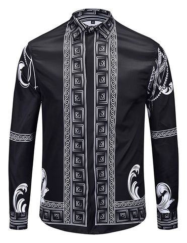 Pizoff Mens Long Sleeve Luxury Design Print Dress Shirt  Y1792-H9
