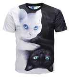 Pizoff Originality Cats 3D Digital Printing T-shirt Y1796-53