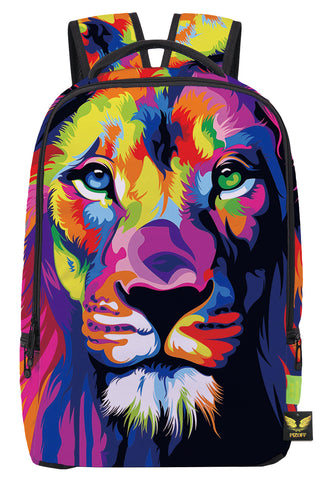 Pizoff Doulbe Mesh Padded Adjustable Shoulder Straps Colorful Lion Print School Bookbags Rucksack Travel Laptop Backpacks Boys Girls Y1799-02