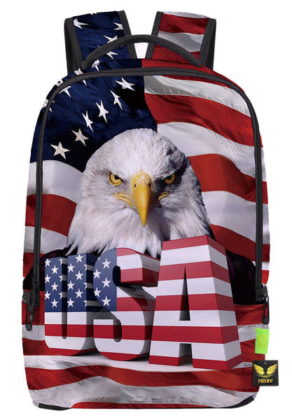 Pizoff Doulbe Mesh Padded Adjustable Shoulder Straps Cute USA Stars and Strips Eagle Print Zipper School Bookbags Rucksack Travel Laptop Backpacks Boys Girls Y1799-35