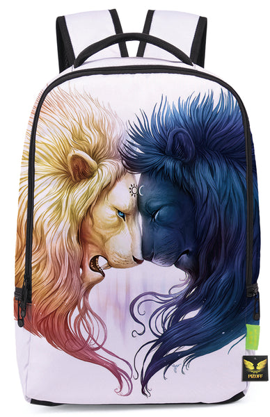 Pizoff Doulbe Mesh Padded Adjustable Shoulder Straps Cute Contrast Lion Print Zipper School Bookbags Rucksack Travel Laptop Backpacks Boys Girls Y1799-58