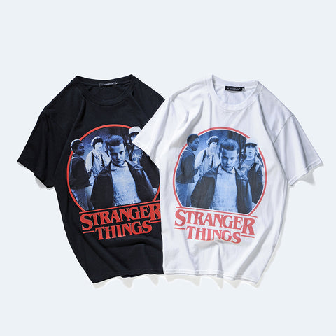 Pizoff Unisex Short Sleeve Stranger Things Themes Printing T-Shirt Y1835