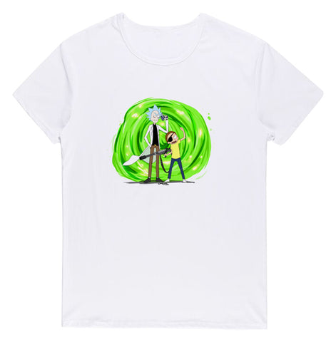 Pizoff Unisex Short Sleeve Rick&Morty Themes Printing T-Shirt Y1897-20