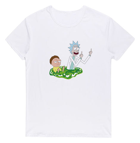 Pizoff Unisex Short Sleeve Rick&Morty Themes Printing T-Shirt Y1897-23