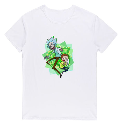 Pizoff Unisex Short Sleeve Rick&Morty Themes Printing T-Shirt Y1897-25