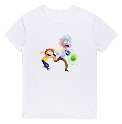 Pizoff Unisex Short Sleeve Rick&Morty Themes Printing T-Shirt Y1897-28