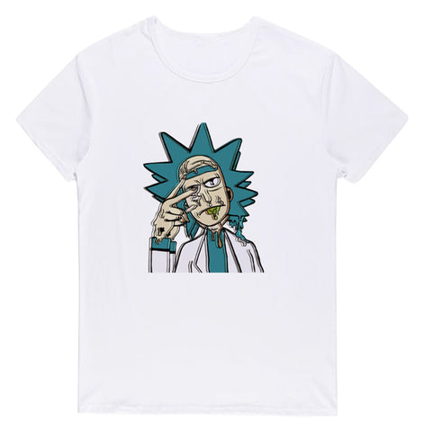 Pizoff Unisex Short Sleeve Rick&Morty Themes Printing T-Shirt Y1897-31