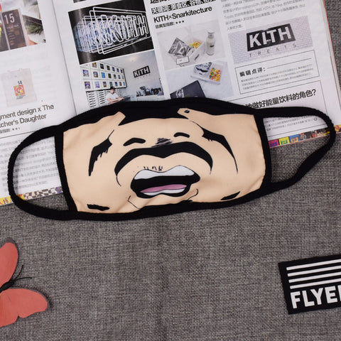 Pizoff Anime Uncle Print Streetstyle Cotton Comfortable Mask Y1898-52