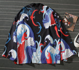 Pizoff Unisex Japan Retro Floating World Painting Thin Loose Shirts Coat Y1900-04