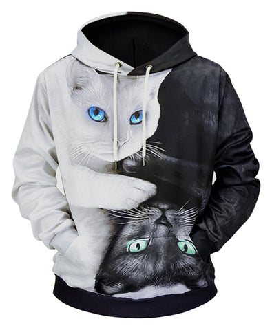 Pizoff Unisex Funny Cat Print Hoodie Coat Long Sleeve With Front Pocket Y1901-01