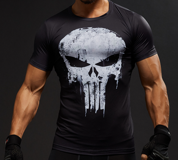 Pizoff Superhero Punisher Tights Work Out Compression Muscle T-shirt