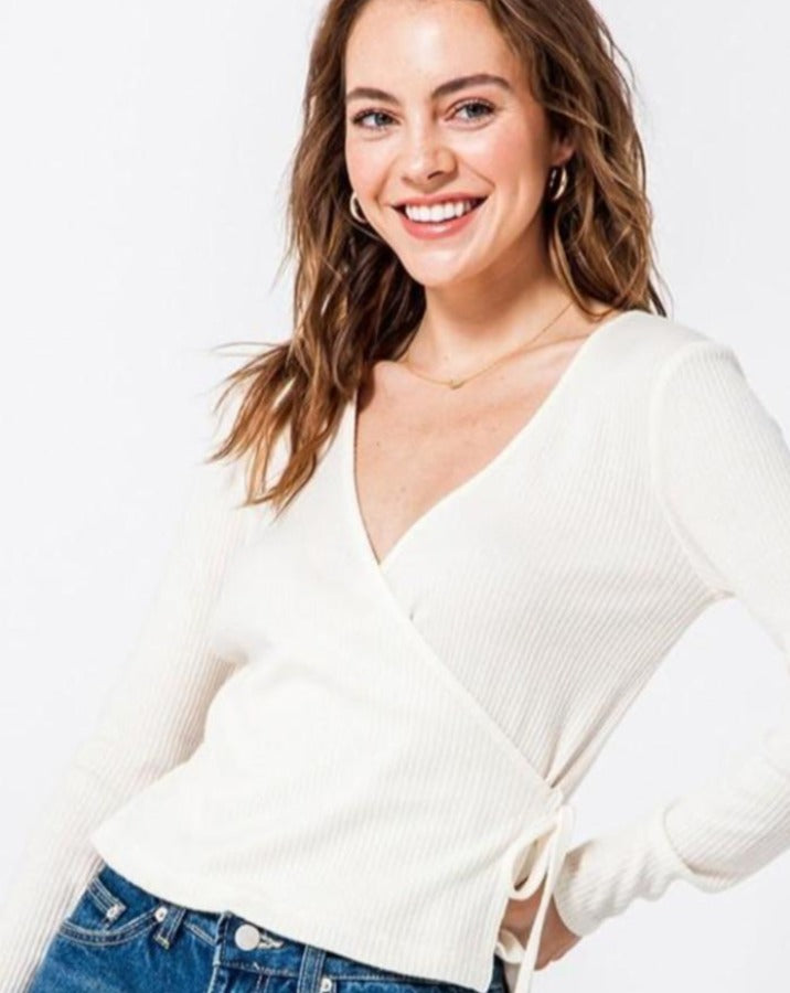 Wrap Front Long Sleeve Top - SISTER LB