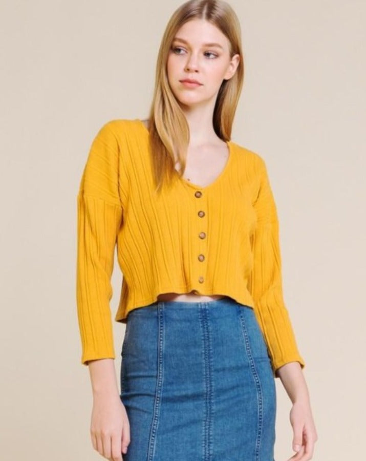 Long Sleeve Knit Button Down Top - SISTER LB
