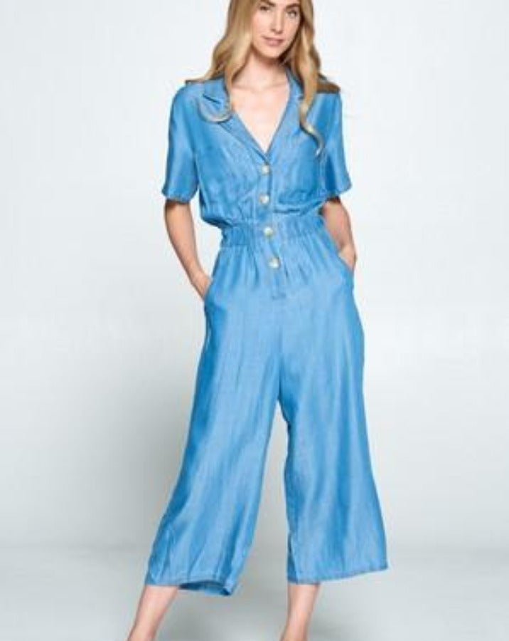 Chambray Button Down Jumpsuit - SISTER LB