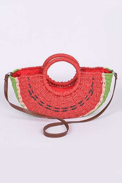 Watermelon Straw Sofia Bag