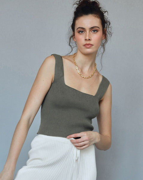 Army Green Square Neck Ribbed Tank