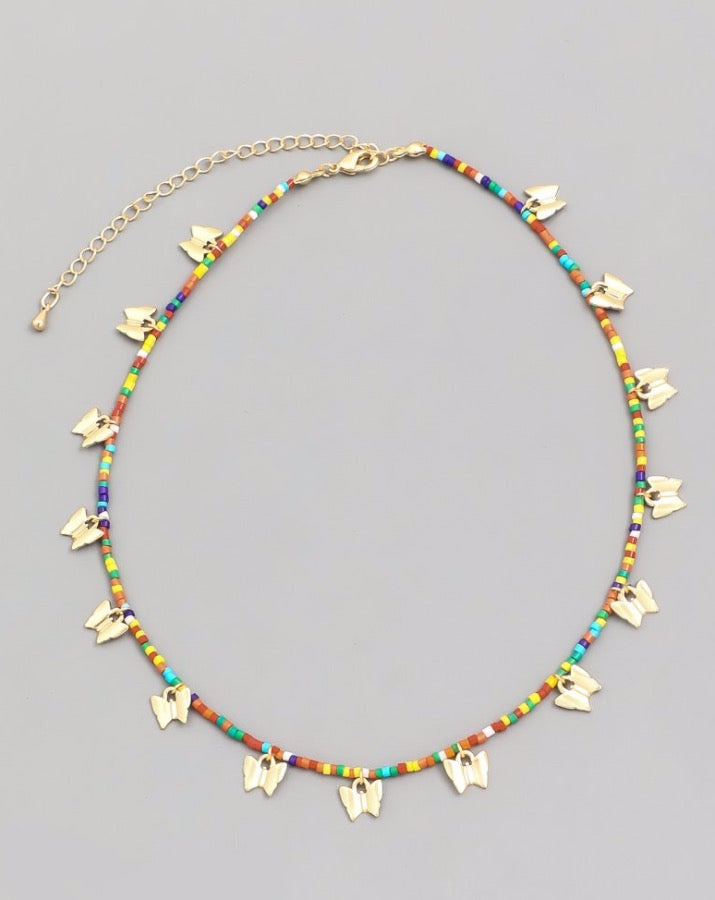 Beaded Butterfly Choker Necklace