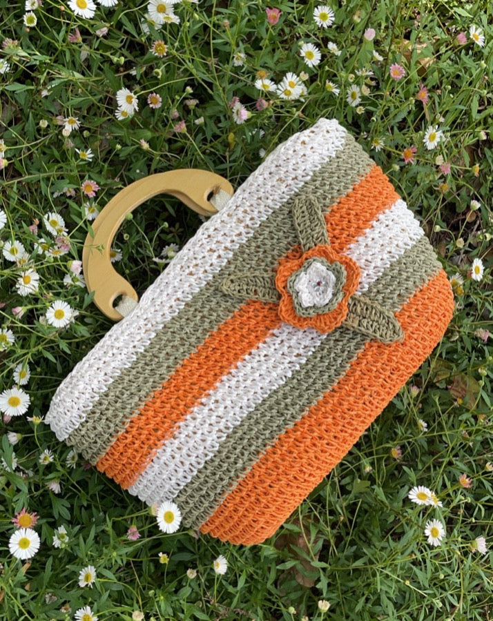 Vintage Orange Flower Straw Bag