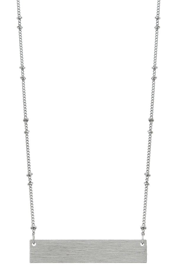 Silver Ball Chain Bar Necklace