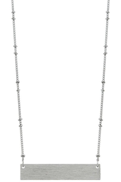 Silver Ball Chain Bar Necklace - SISTER LB