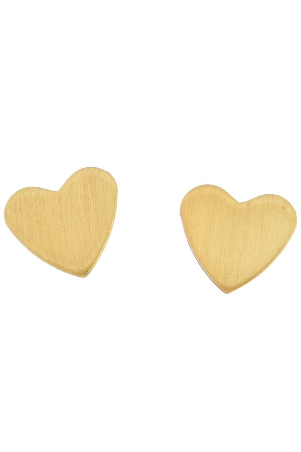 Brushed Gold Heart Studs