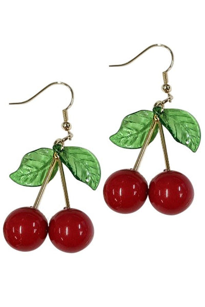 Red Cherry Acrylic Earrings